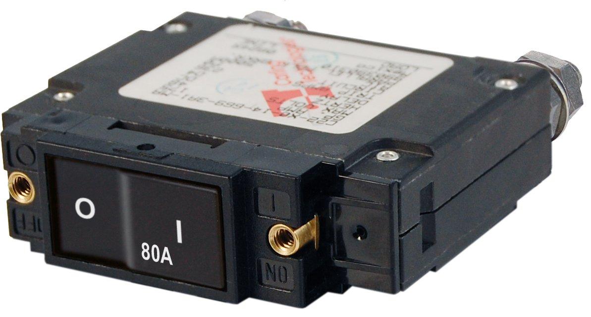 Blue Sea Systems C-Series Flat Rocker Single Pole 80A Circuit Breaker