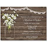 Bridal Shower Invitations, Wood, Lace, Dasiy, Wedding, Rustic, Country, Set of 10 Custom Printed Invites with Envelopes, Country Mason Jar