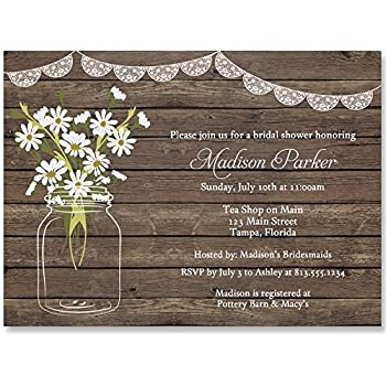 Bridal Shower Invitations Wood Lace Dasiy Wedding Rustic Country Set Of 10 Custom Printed Invites With Envelopes Mason Jar