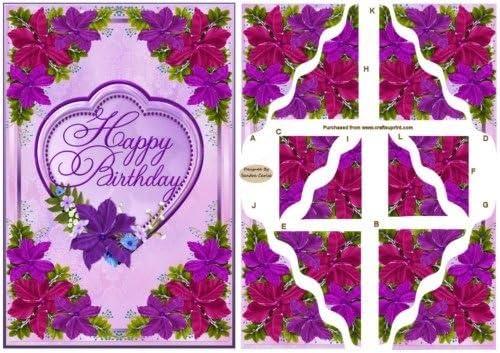 Joyeux Anniversaire Floral Coin Stacker Carte Avant Par