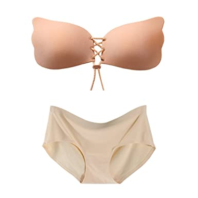 a48a593ee8308 TRIES Womens Invisible Strapless Silicone Bra Breathable Push-up Brassiere Adhesive  Bras Underwear Set