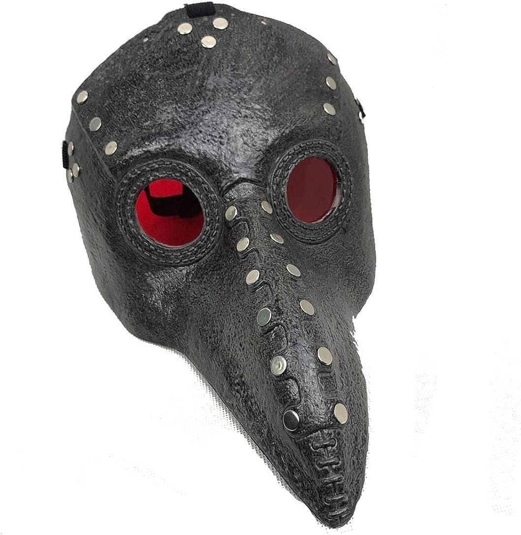 Black2 Long Nose Beak Steampunk Halloween Costume Props Herocos Red Eye Plague Doctor Bird Punk Cosplay Mask
