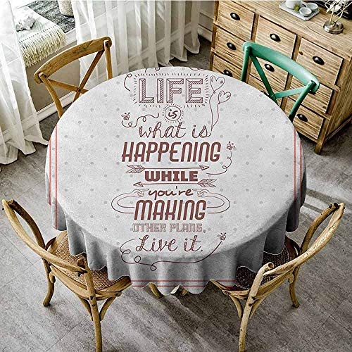 Suchashome Tassel Tablecloth Quotes Life is What is Happening While Youre Making Other Plans. Live it Attitude Art Peach Ruby Camping Round Tablecloth Diameter 70