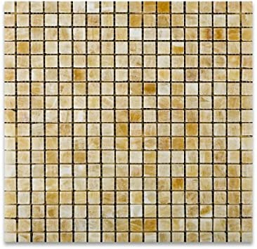 Box of 5 sqf MS International 5//8 In.x5//8 In Honey Onyx Polished Mosaic Tile