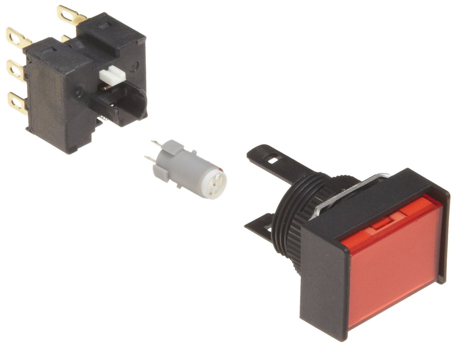Omron A165L-JRM-5D-2 Two Way Guard Type Pushbutton and Switch, Solder Terminal, IP65 Oil-Resistant, 16mm Mounting Aperture, LED Lighted, Momentary Operation, Rectangular, Red, 5 VDC Rated Voltage, Double Pole Double Throw Contacts