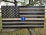 EMS Rustic Wooden Thin White Line American Flag w/ Star of Life (19''x37'')