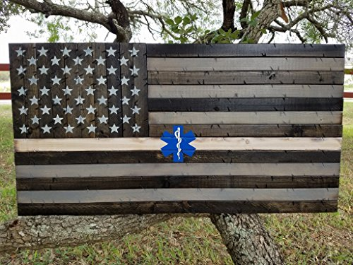 EMS Rustic Wooden Thin White Line American Flag w/ Star of Life (19''x37'') by Cowboy Capital Rustic Signs