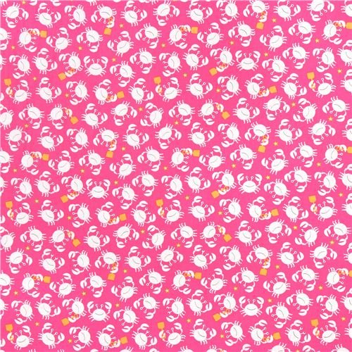 pink beach crab cancer fabric Little Diggers by Michael Miller USA (per 0.5 yard multiples)