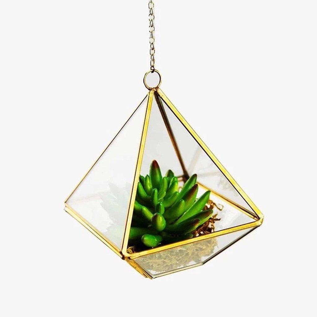 jinxin Modern Artistic Clear Glass Geometric Terrarium Five-surfaces Diamond Succulent Fern Moss Terrarium with Loop Hanging flowerpots (Size : B)