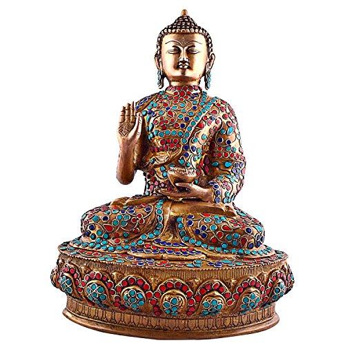 1.2 FEET Tall Tibetan Buddha Statue Large,Vintage Coral Turquoise Gemstones Bronze Old Buddhist Sakyamuni Blessing Buddha (Kwan Yin Garden Statues)