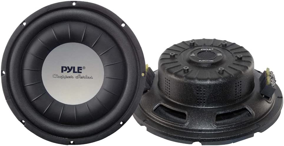 "Pyle PLWCH10D for Vehicle Stereo Sound System 4 Ohm Impedance 10 Inch 1000 Watt Power Ultra Slim DVC Subwoofer w// Dual 2/"" Kapton Voice Coil Car Vehicle Subwoofer Audio Speaker 60 Oz Magnet"