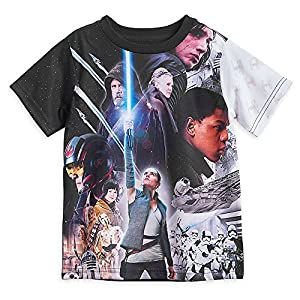 Star Wars: The Last Jedi Cast Sublimated T-Shirt for Kids Size XS (4) Black