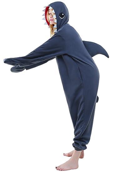 Newcosplay Adult Onesie Shark Costume Halloween Pajamas Cosplay Costume (M, Blue Shark)
