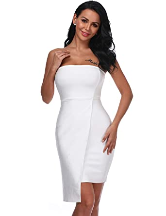eb319460d Hego White Ruffles Club Night Out Strapless Evening Sexy Wedding Party  Bodycon Bandage Dress for Women H5414 at Amazon Women's Clothing store:
