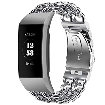 Amazon com: NXDA Compatible For Fitbit Charge 3, Stainless