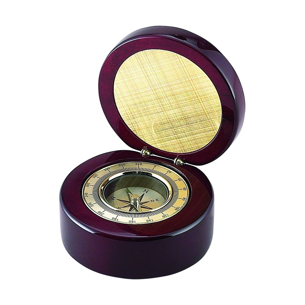 Creative Gifts Round Wood Box w/ Compass & Eng. Plate. by Creative Gifts
