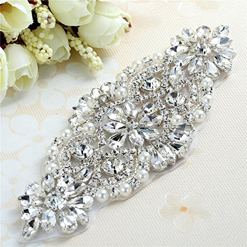 Bridal Wedding Dress Sash Belt Applique with Crystals Rhinestones Pearls Beaded Dacorations Handcrafted Sparkle Elegant Thin Sewn or Hot Fix for Women Gown Evening Prom Clothes (Clear Sliver) -