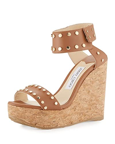 0cd25f2580d Image Unavailable. Image not available for. Color  JIMMY CHOO Nelly Studded  Cork Wedge Sandal ...