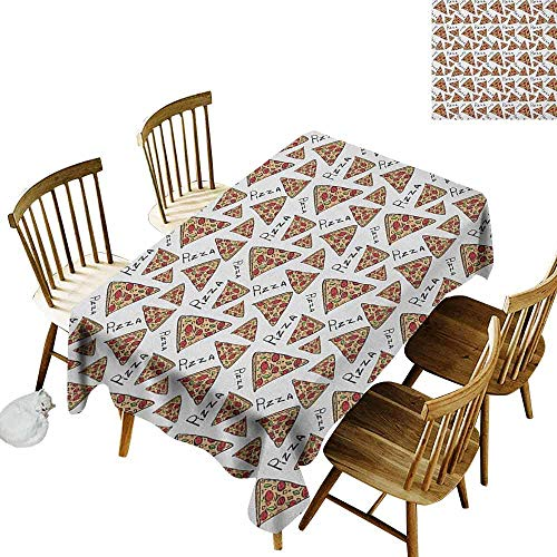 DONEECKL Pizza Waterproof Tablecloth Polyester Tablecloth Pattern in Hand Drawn Doodle Style Pizzeria Menu Fast Food Delicious Gourmet Eating Multicolor W60 xL120 -