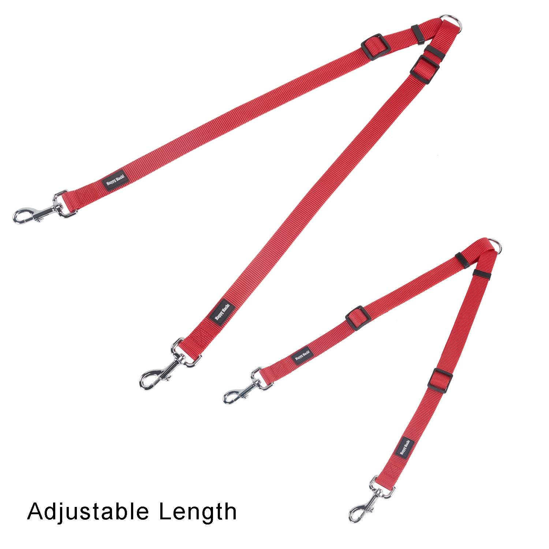 M 40-60cm Nero Guinzaglio Doppio Cane Resistente Regolabile Nylon per Accoppiamenti Pesanti per Due Cani Piccoli Grandi Passeggio