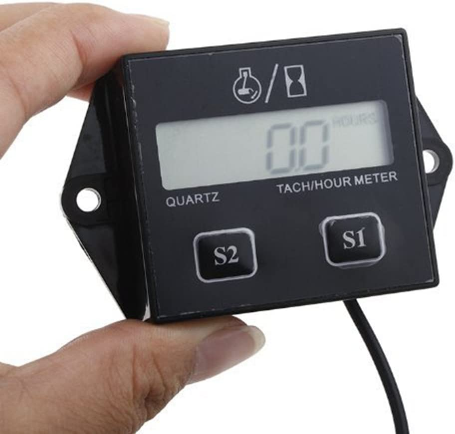 Racing Engine Tach Hour Meter LCD Digital Tachometer Gauge for ...