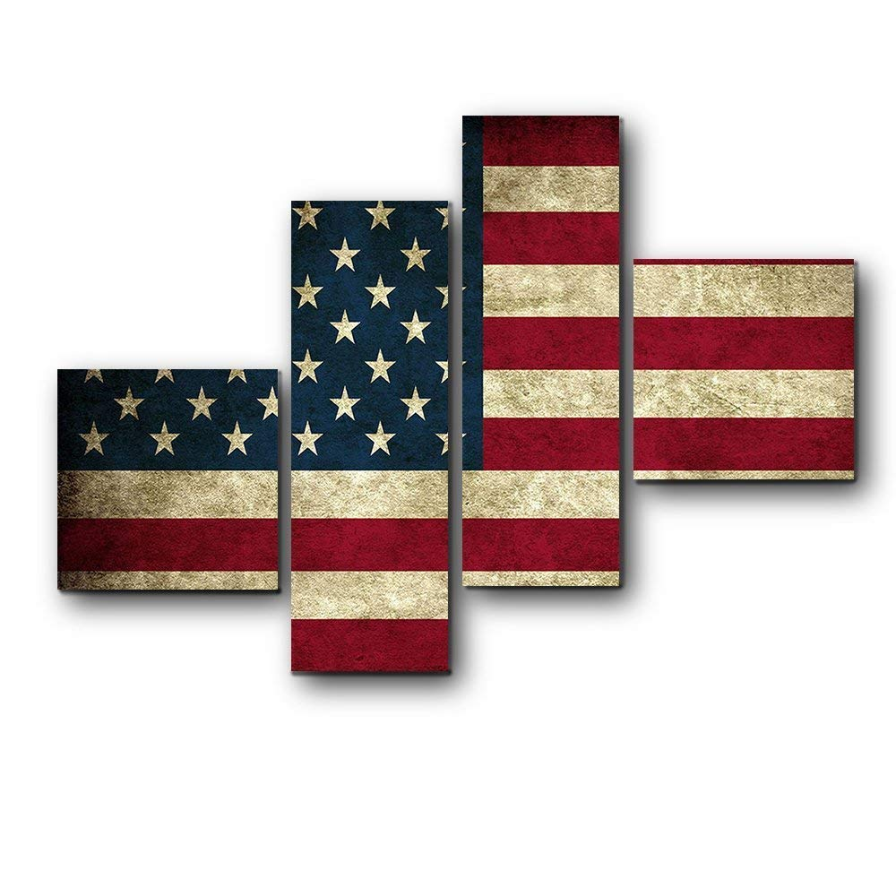 Yaoni 4 Pieces American Flag Canvas Print, 13 Stripes 50 Stars US Flag Modern Wall Decor/Home Decoration Stretched Gallery Canvas Wrap Giclee Print & Ready to Hang 12''x12'' 8''x24'' 8''x24'' 12''x12''