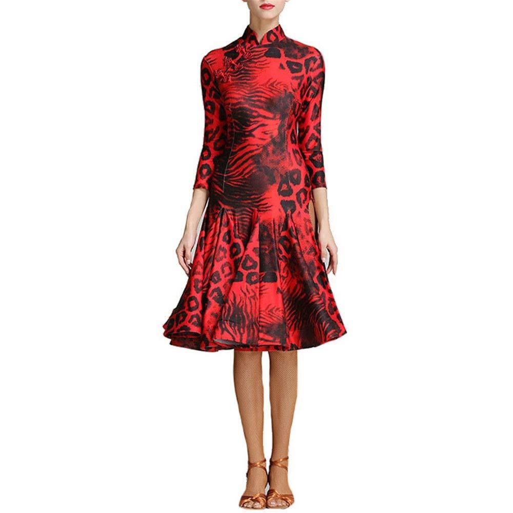 Rouge S Costume Femme Justaucorps Femmes léopard Imprimer robe de danse latine côté Split Rétro Cheongsam robe lyrique Salle de bal Dancewear Moderne Valse Danse Costume Prom robe de soirée Mini robe