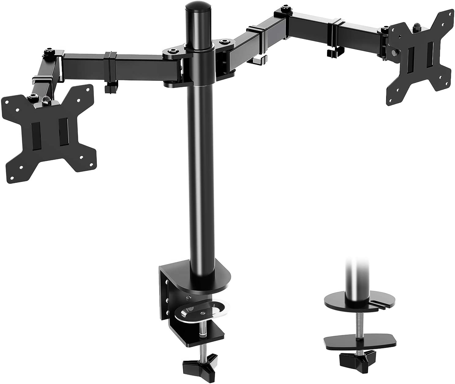 MOUNTUP Dual Monitor Desk Mount Stand, Full Motion Computer Monitor Arm Mount for 2 LCD Screens up to 27 Inch, Dual Monitor Stand with C-Clamp and Grommet Base MU0002