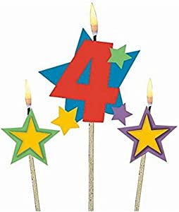 Amscan #4 Decorative Birthday Candle & Star Candles | Party Supply | 3 pieces
