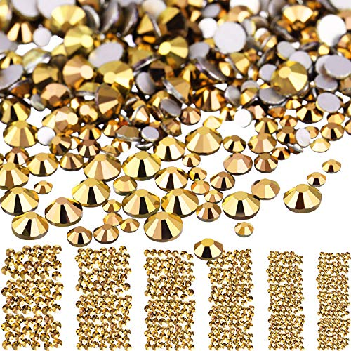 Bememo 3456 Pieces Nail Crystals AB Nail Art Rhinestones Round Beads Flatback Glass Charms Gems Stones, 6 Sizes for Nails Decoration Makeup Clothes Shoes (Bronze, Mixed SS4 5 6 8 10 12)