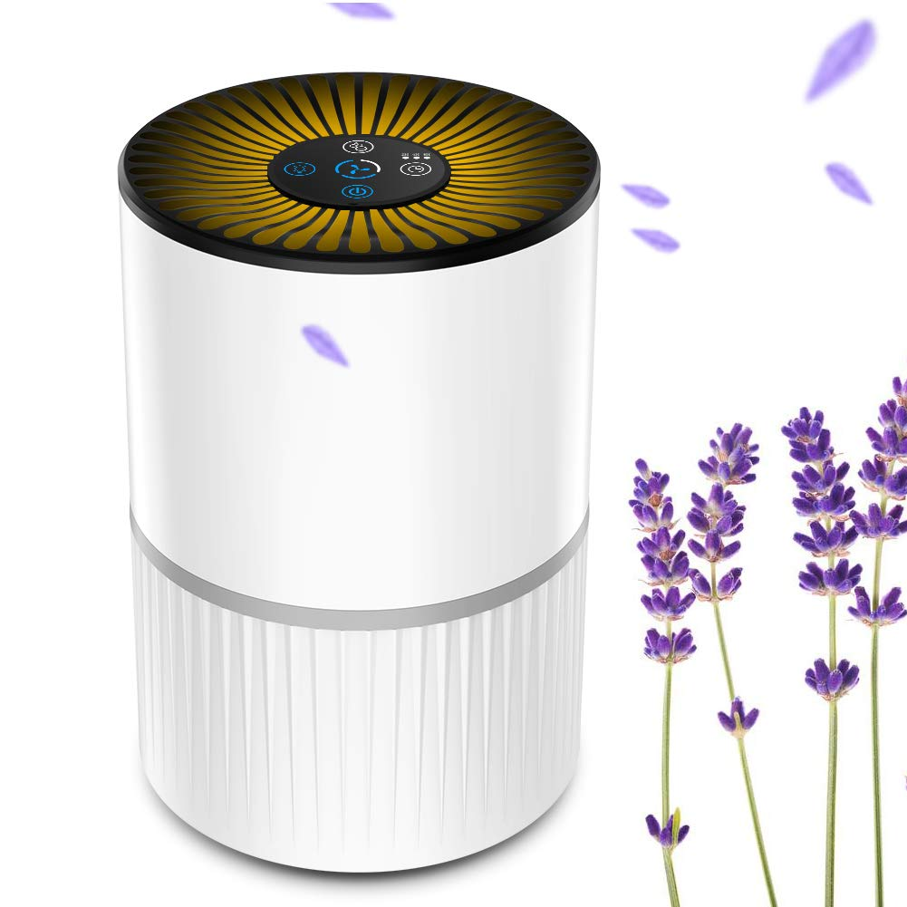 Filtraci/ón de 4 Etapas Temporizador y Luz Nocturna Opcional Purificador de Aire Silencioso para el Hogar con 3 Velocidades de Ventilador BOYON Purificador de Aire con Filtro HEPA Verdadero