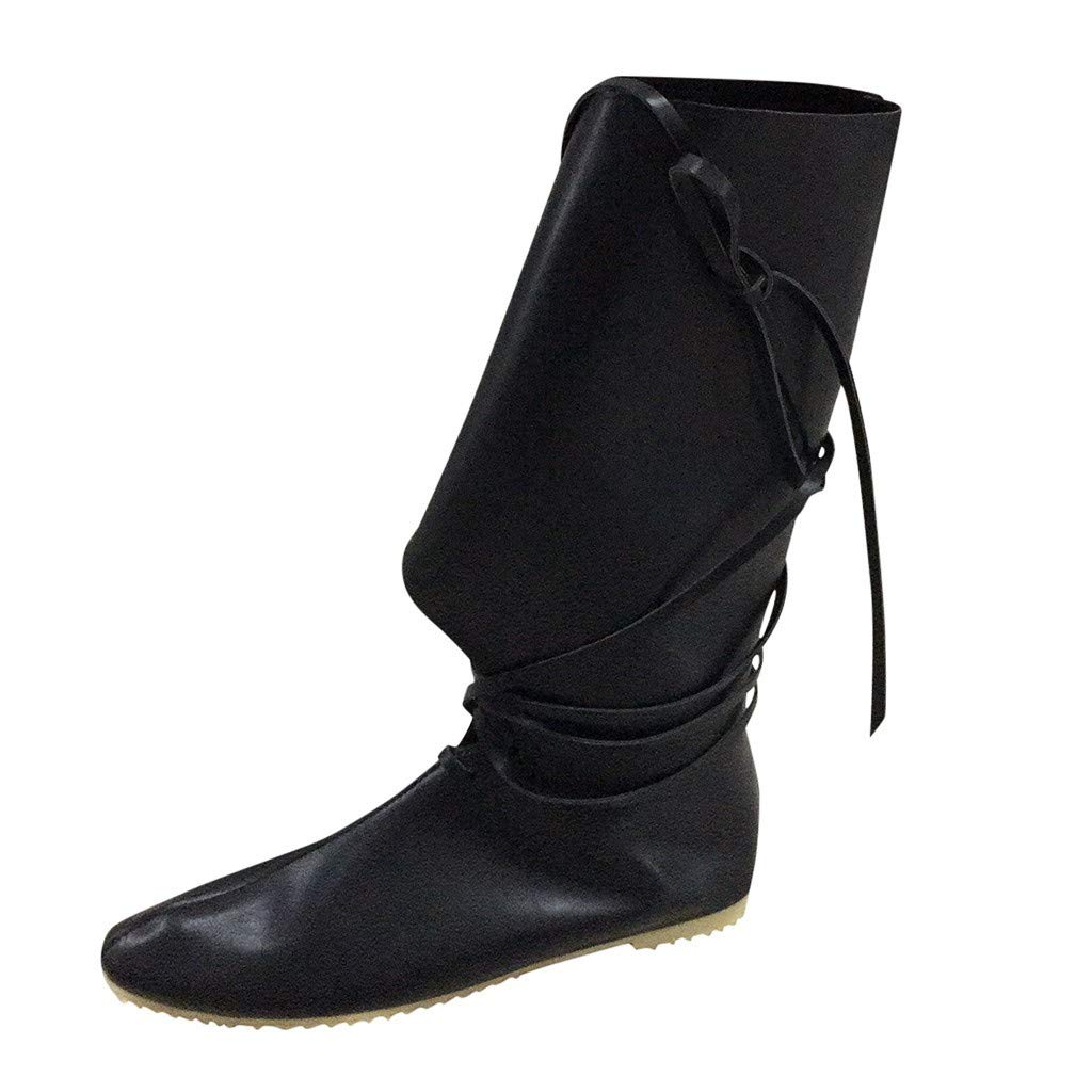 Women's Middle-Tube Boots, Couple's Comfort Western Boots Cross-Strap Flat Bottomed Shoes Sumeimiya Black by Sumeimiya-Shoes