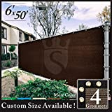 Cheap Royal Shade 6′ x 50′ Brown Fence Privacy Screen Cover Windscreen, with Heavy Duty Brass Grommets, Custom Make Size