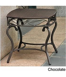 International Caravan Lisbon Wicker Patio Side Table In Chocolate