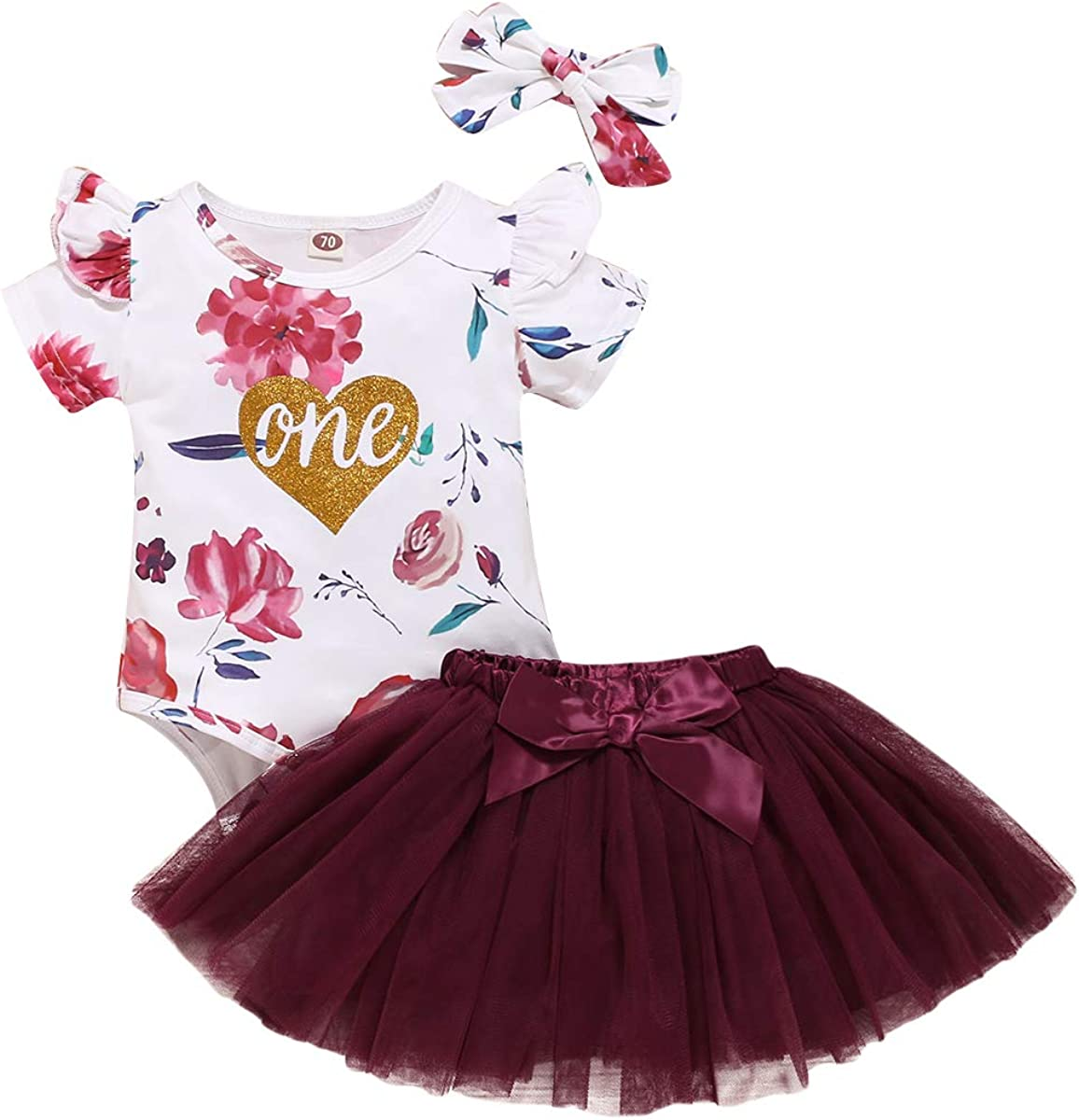 Baby Girl 1st Birthday One Outfits Short Sleeve Floral Heart Romper+Tutu Skirt Headband Summer Clothes