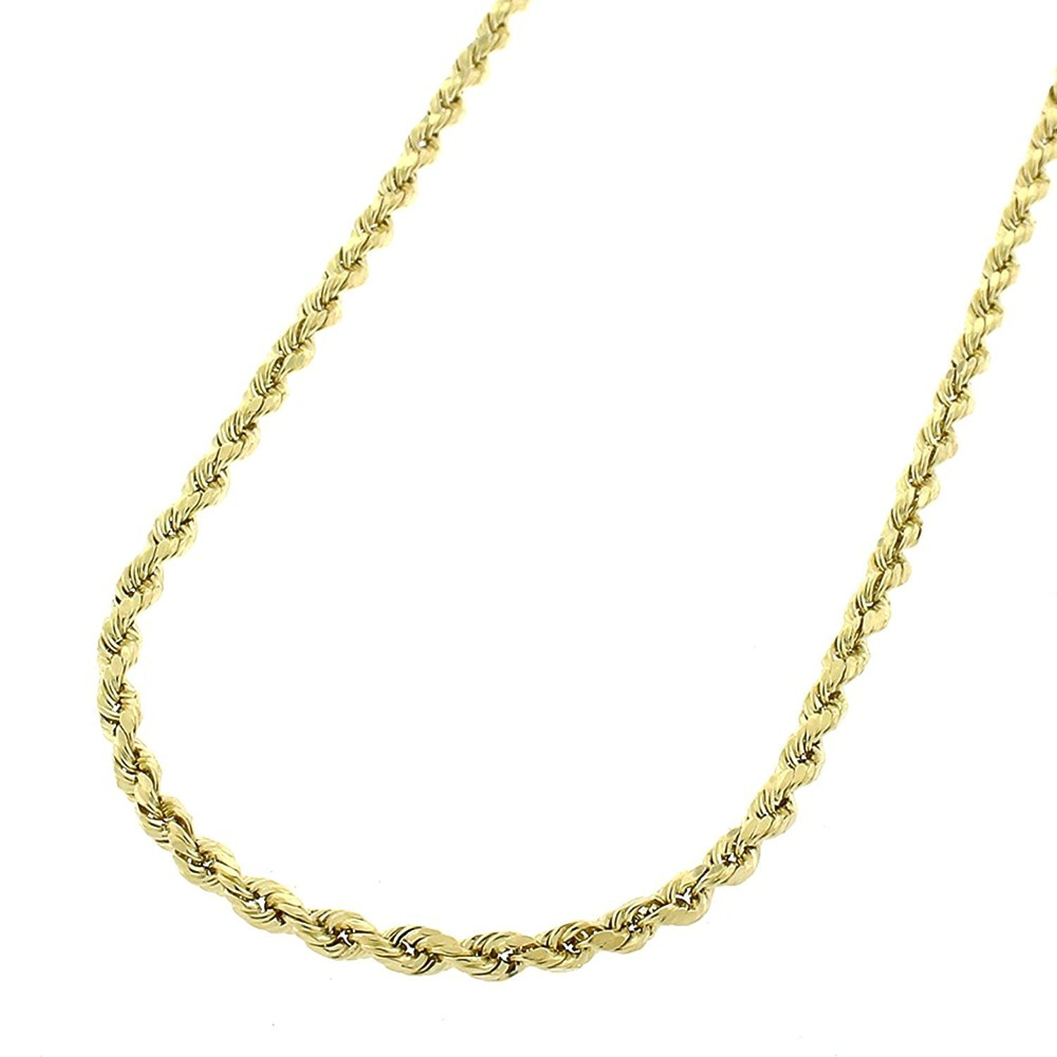 236d662324d5e 14K Yellow Gold 2mm Hollow Rope Diamond-Cut Braided Twist Link Chain  Necklace 16
