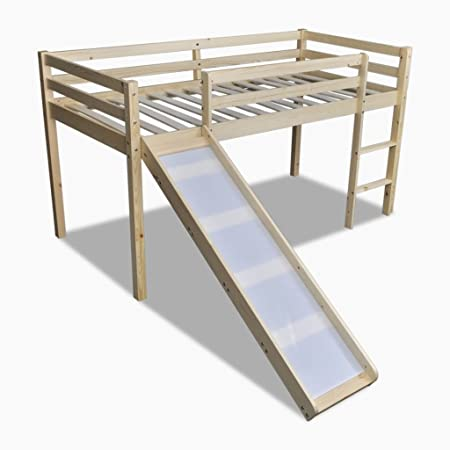 vidaXL Cama de Dos Pisos con Escalera y Tobogán Color Natural: Amazon.es: Hogar
