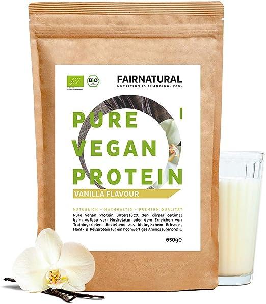 Proteína Vegana en Polvo ORGANICA Vainilla sin soja de Alemania - Polvo de Proteína Orgánica 650g de Arroz, Proteína de Cáñamo y Proteína de ...