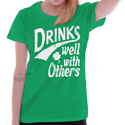 5d4b0c79e Drinks Well with Others St Patricks Day Gym Ladies T Shirt Irish Green