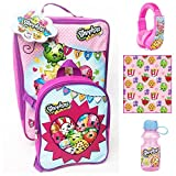 Shopkins Kids Complete Travel Set - Rolling Luggage, Luggage Tag, Mini Backpack, Headphones, Plush Blanket and Water Bottle