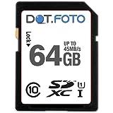 Dot.Foto - 64 Go Carte mémoire SDXC Classe 10 UHS-1 - 45Mo/sec pour appareils photo Canon EOS [Pour la compatibilité voir la description]