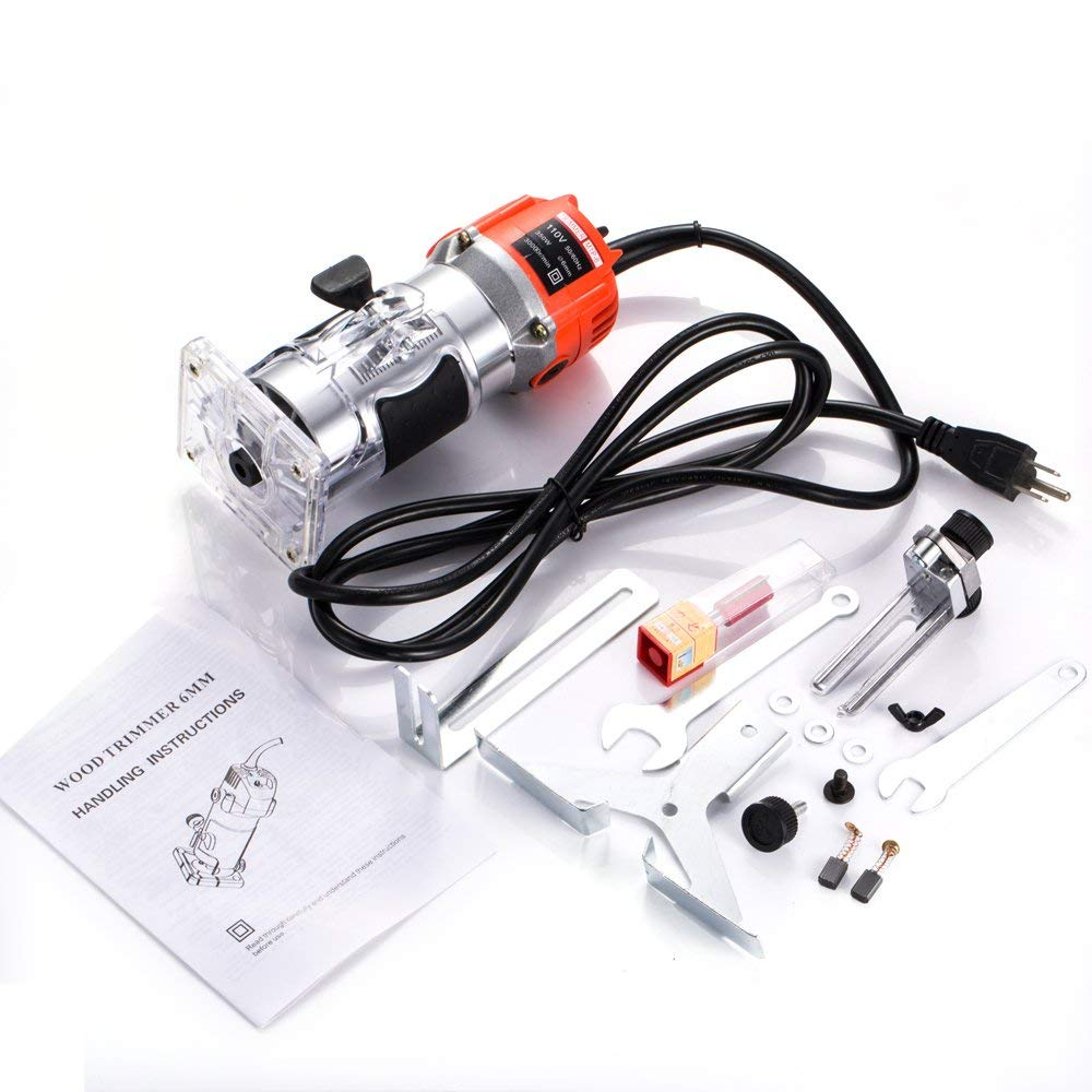 Cozyel 110V 800W Palm Router Electric Hand Trimmer Wood Router 1/4'' Collets Woodworking Tool Laminate Trimmer