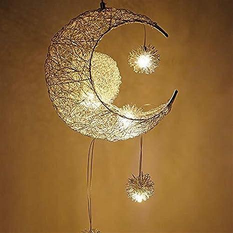 IVNZEI Lámpara Colgante, Luz de Techo Lámpara de Hadas Luna ...