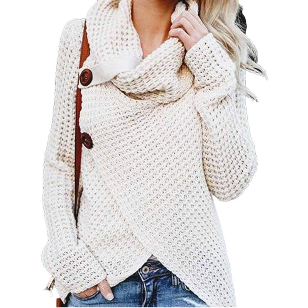 loukou Women Fashion Casual Solid Turtle Cowl Neck Asymmetric Hem Wrap Sweater Top