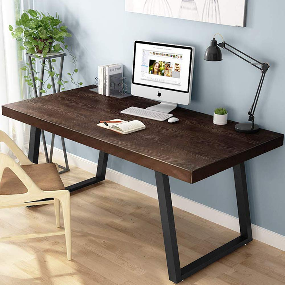 Tribesigns 55'' Rustic Solid Wood Computer Desk, Vintage Industrial Home Office Desk with Heavy-Duty Metal Base Works As Writing Desk or Study Table (Espresso)