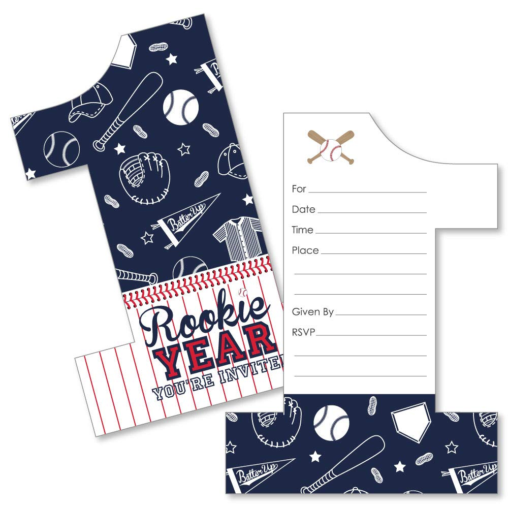 1st Birthday Batter Up Baseball Shaped Fill-in Invitations Set of 12 First Birthday Party Invitation Cards with Envelopes