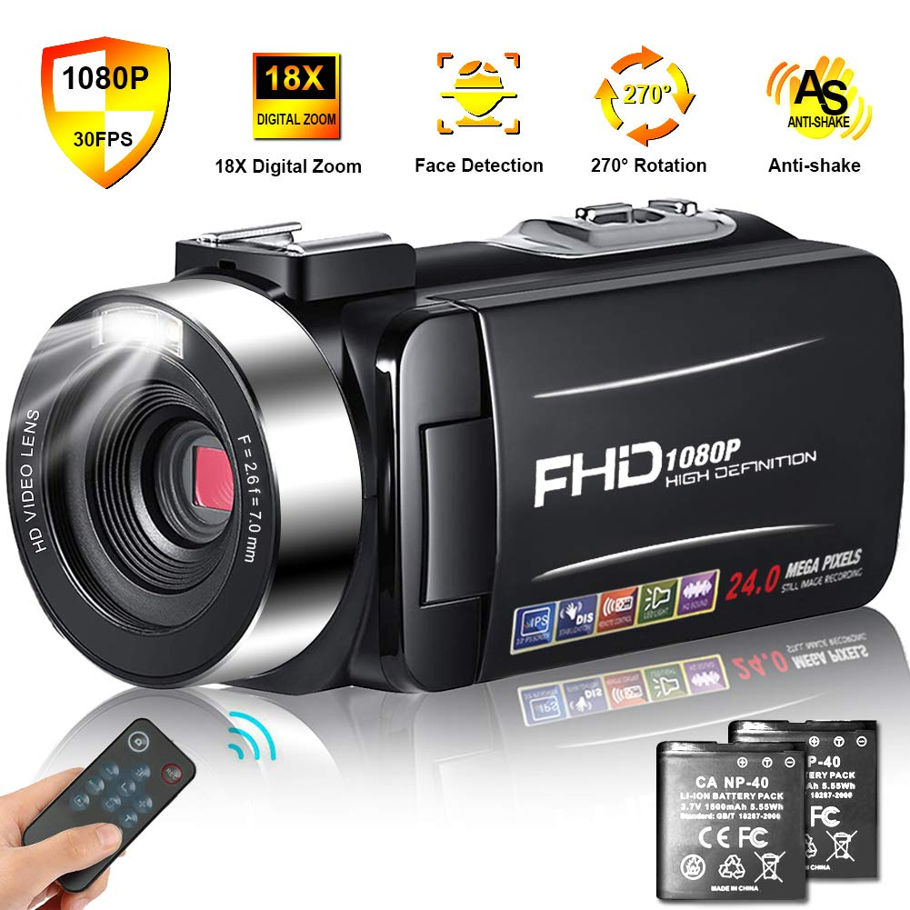 Camcorder Video Camera Full HD 1080p 30FPS Camcorder Camera 24MP 18x Digital Zoom 3'' IPS 270° Rotation Screen Vlogging Camera with Remote Control and Pause Function with 2 Batteries