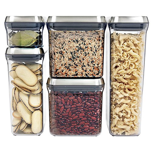 (OXO SteeL 5-Piece Airtight Food Storage POP Container Set)