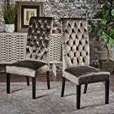 Christopher Knight Home 302114 Leorah Tall Back Tufted Grey Velvet Dining Chair, Dark Brown