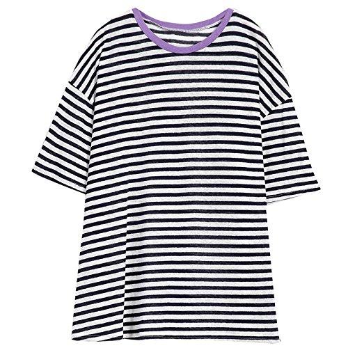 Xmy simple bande de couleur sort chandail de tricot femme slim à manches courtes, col rond long manteau d'été à l'état sauvage sont de type code
